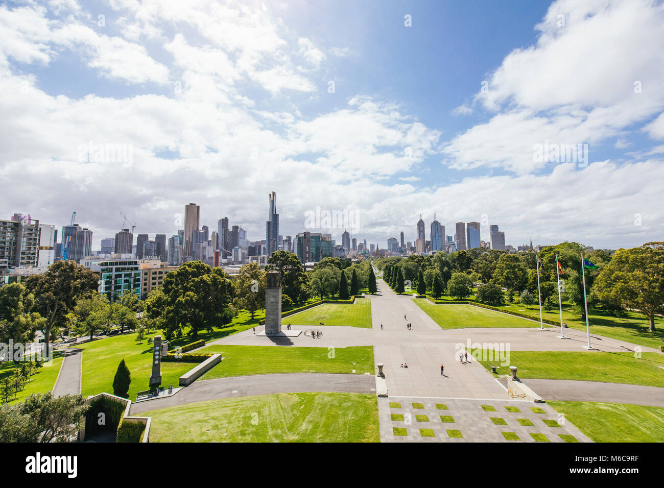 Point of View shot from the Shrine of Remembrance, Melbourne. - Stock Image
