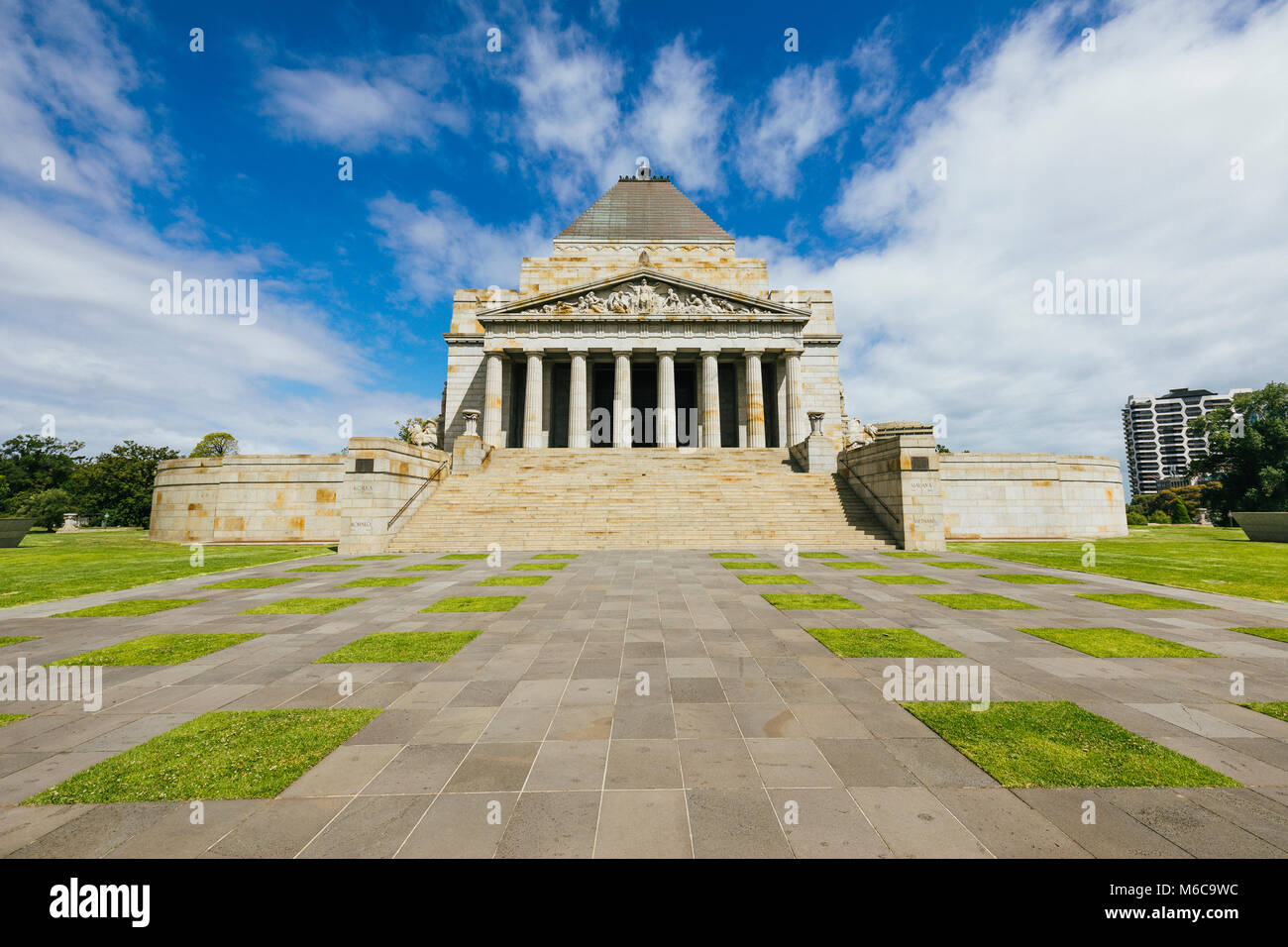 Point of View shot of the Shrine of Remembrance, Melbourne. - Stock Image