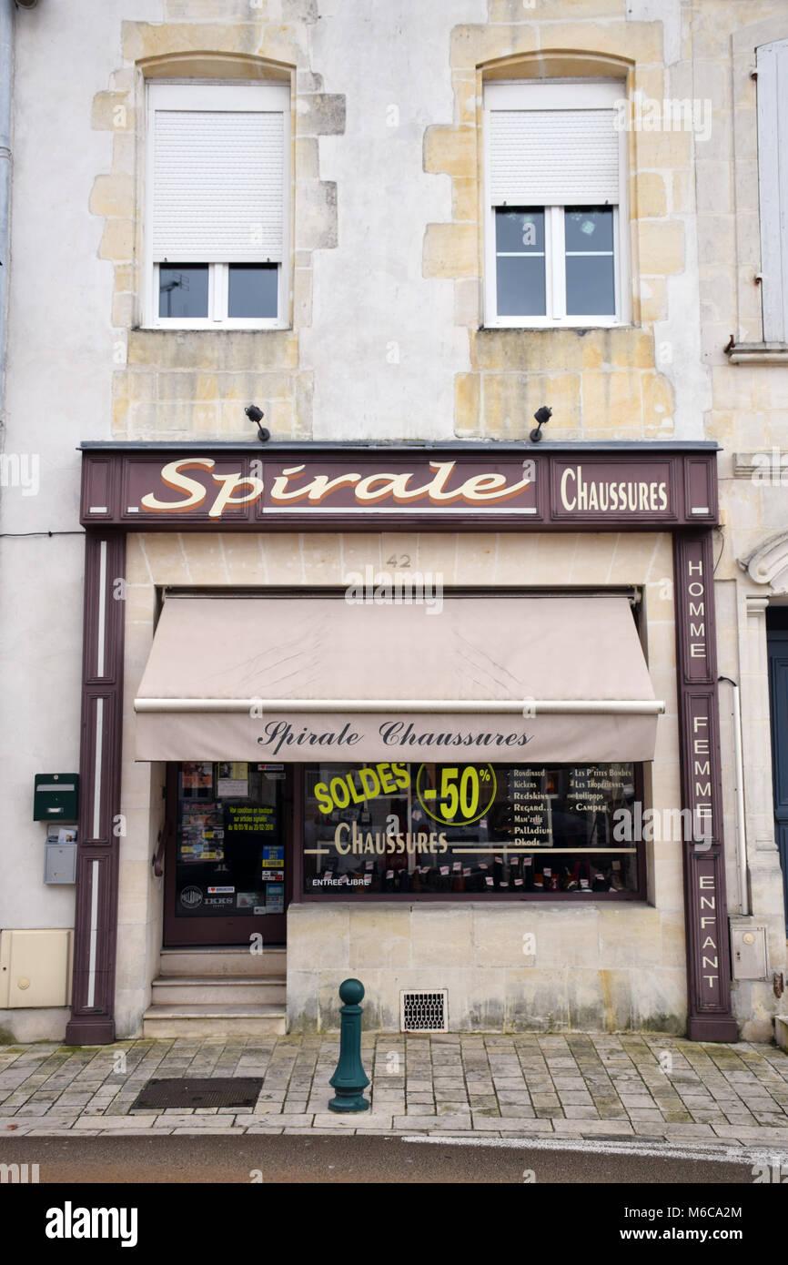 Shoe shop, Cognac, Charente, France - Stock Image
