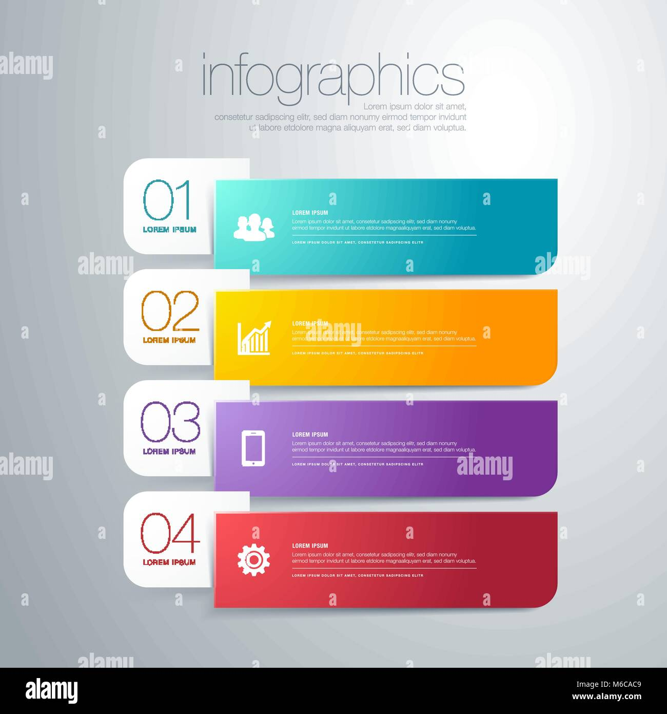 vector illustration modern infographic diagram with bars in different color, text and icons. perfect for presentation, - Stock Image