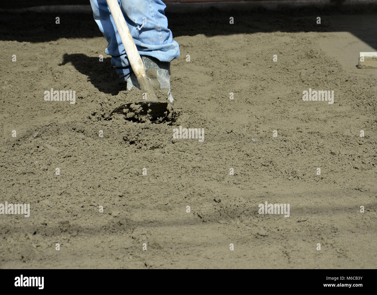 picture of a concreting the floor of a new house Stock Photo