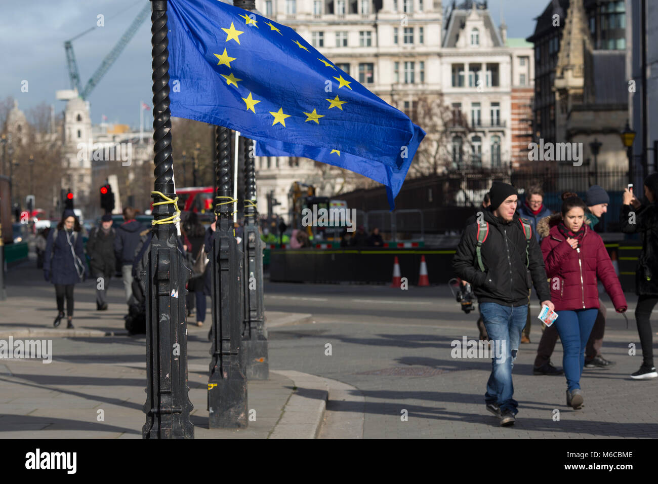 European Union flag attached to a lamp post outside Palace of Westminster by Pro European Union protesters against - Stock Image