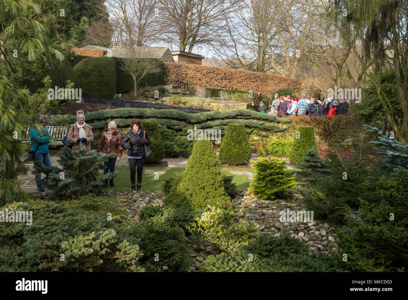 Visitors to York Gate Garden, Adel, Leeds - Stock Image