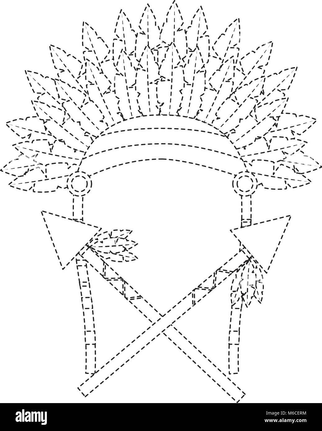 headdress native american icon image  - Stock Image