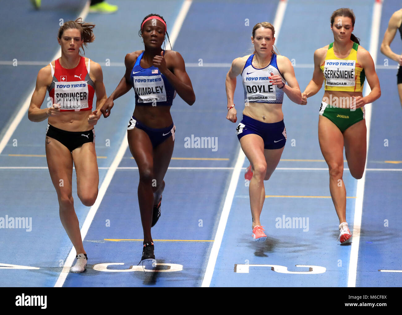 Great Britain's Eilidh Doyle (second right) on her way to finishing second in the Women's 400m Semi Final - Stock Image
