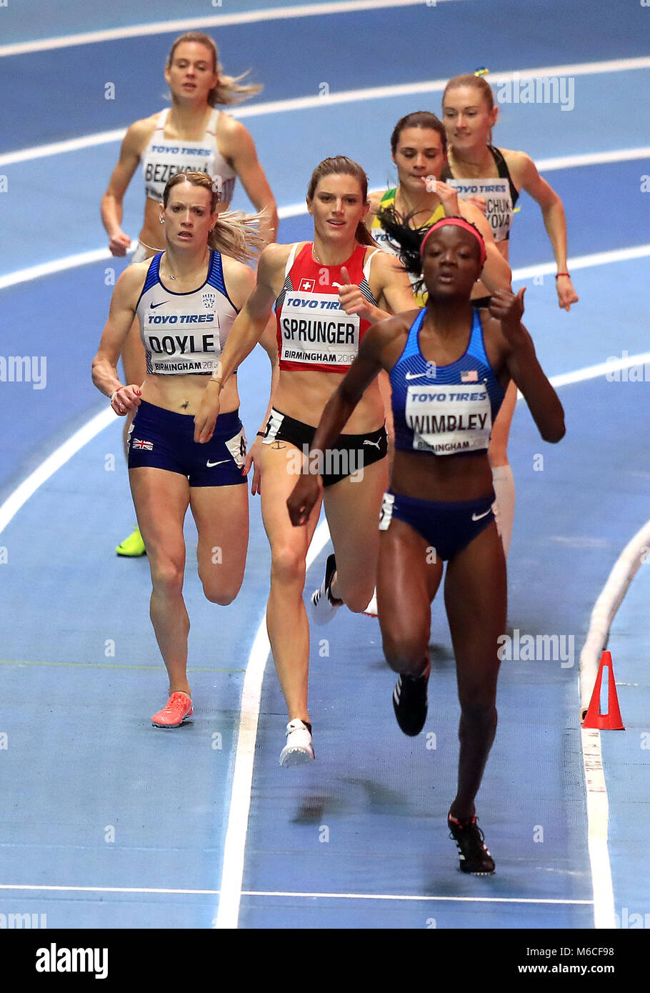 Great Britain's Eilidh Doyle (left) on her way to finishing second in the Women's 400m Semi Final behind - Stock Image