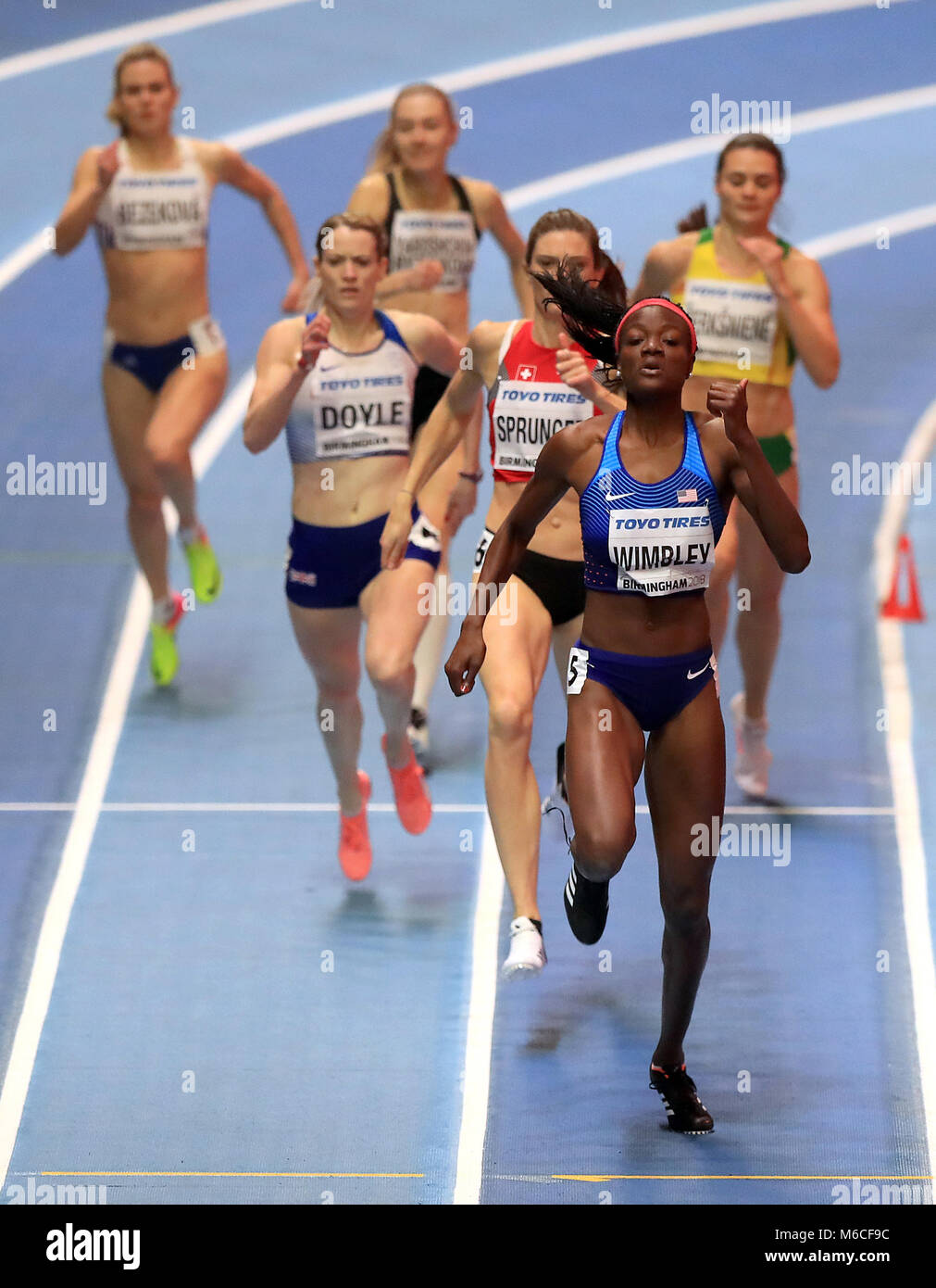 USA's Shakima Wimbley on her way to winning the Women's 400m Semi Final during day two of the 2018 IAAF - Stock Image
