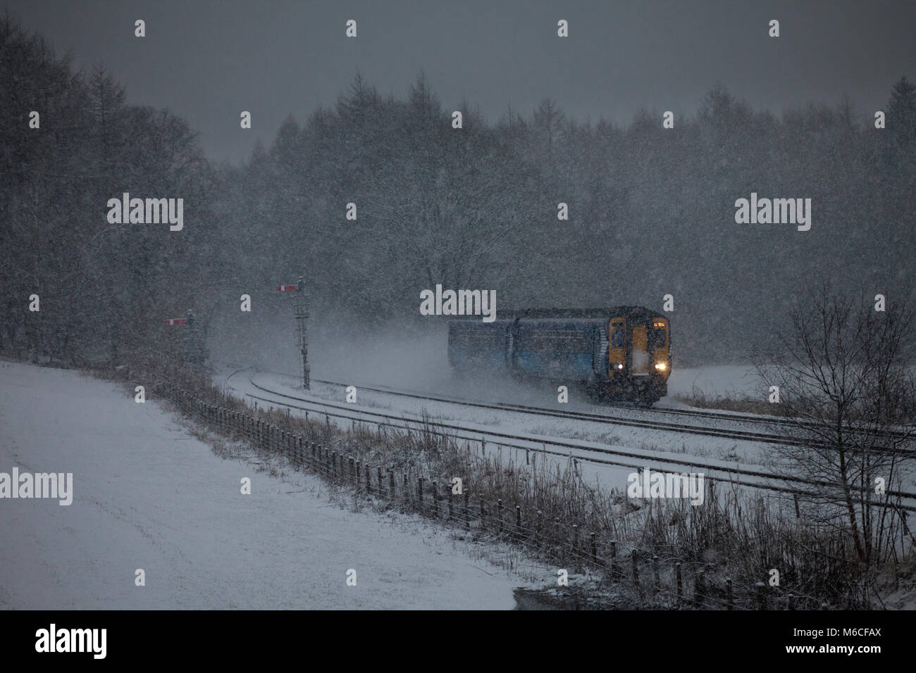A Scotrail sprinter train passes  Thornhill (North of Dumfries) in a snow storm - Stock Image
