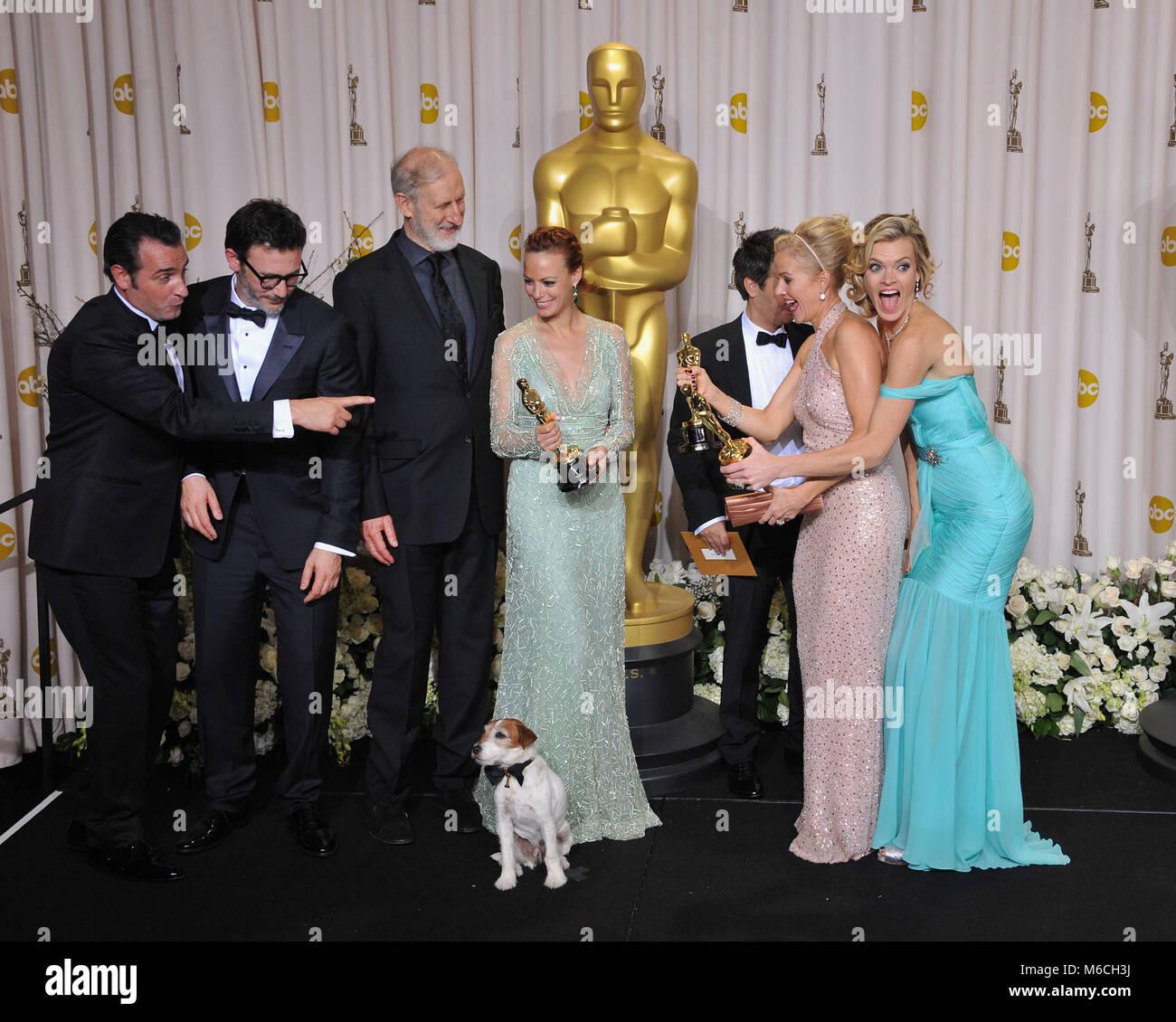Michel Hazanavicius, Missi Pyle , Jean Dujardin, P A Miller, J Cromwell, Thomas Langmann  148  press room at the Stock Photo