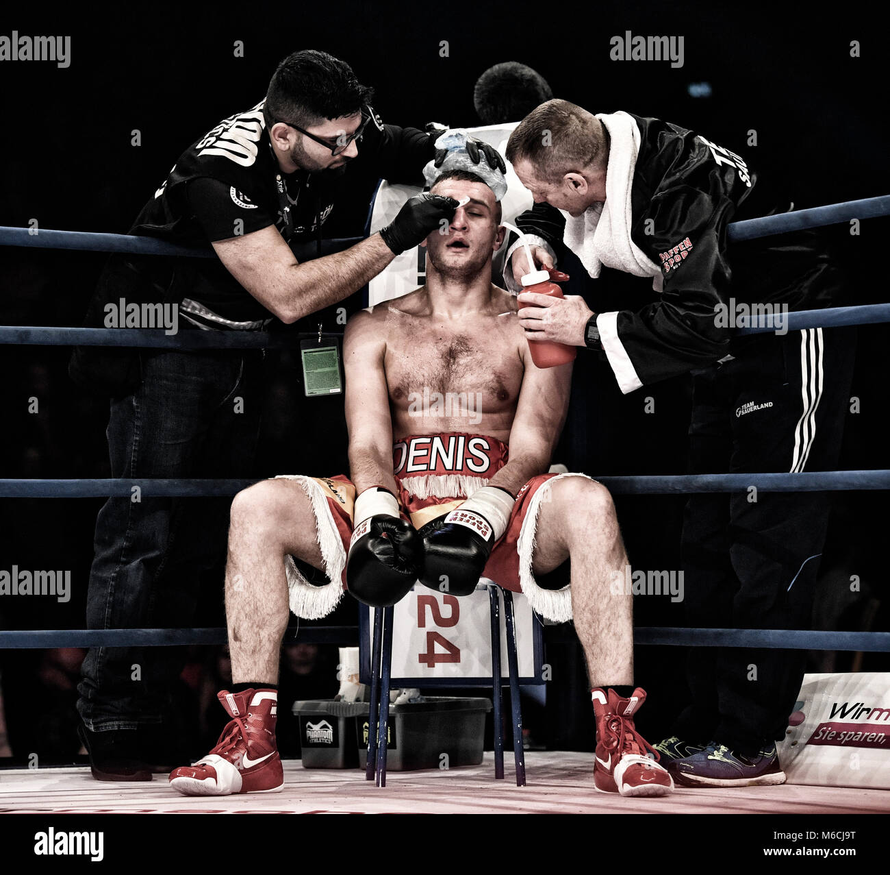 Boxing, Denis Radovan in his corner, cut over eye treatment, MHP-Arena, Ludwigsburg, Germany Stock Photo