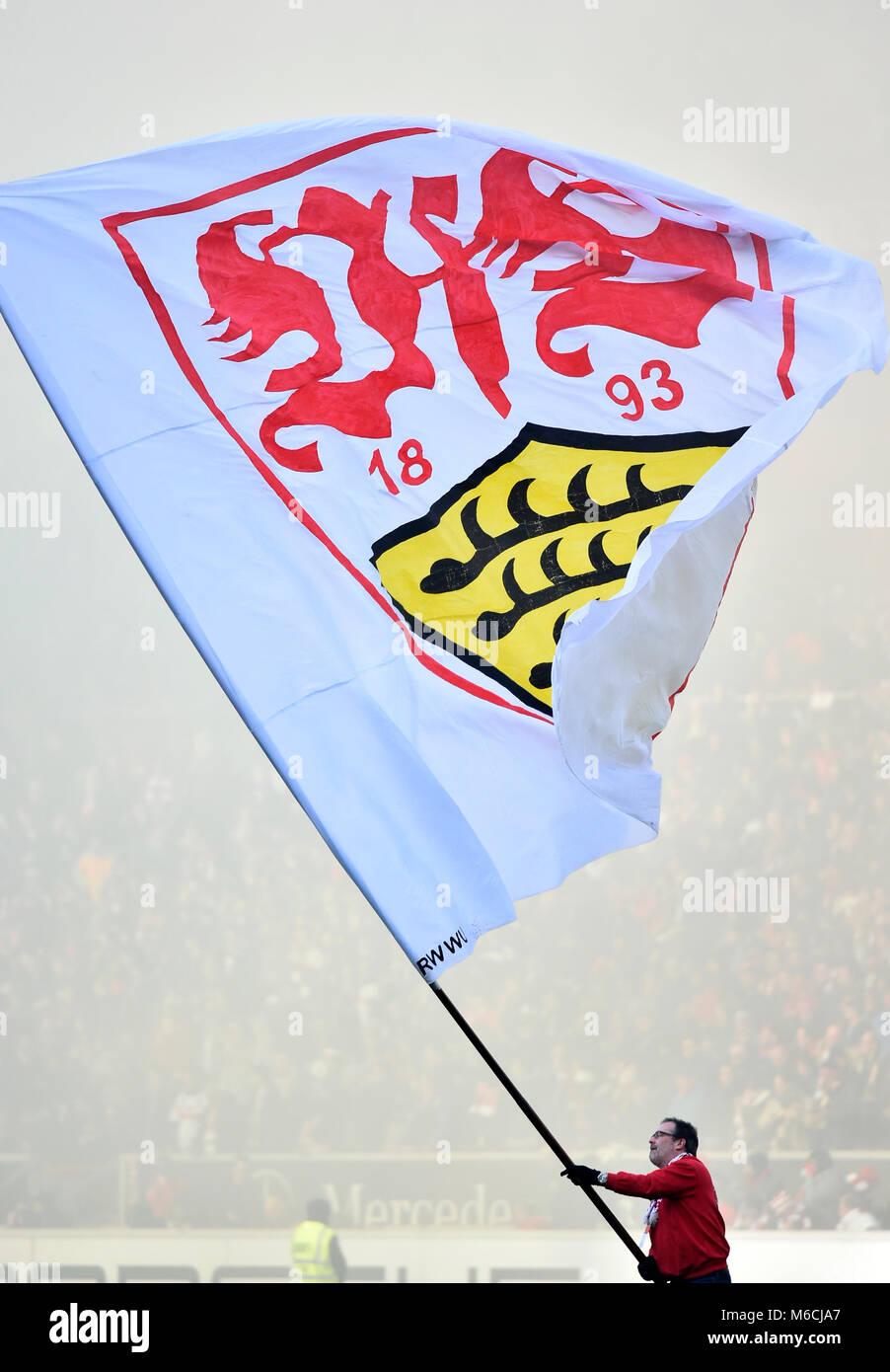 Employee with flag logo VfB Stuttgart, Mercedes-Benz Arena, Stuttgart, Baden-Württemberg, Germany Stock Photo