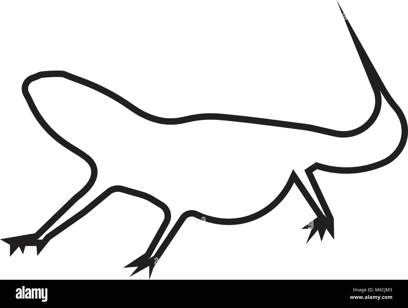 Bearded Dragon Silhouette Outline On White Background Stock Vector