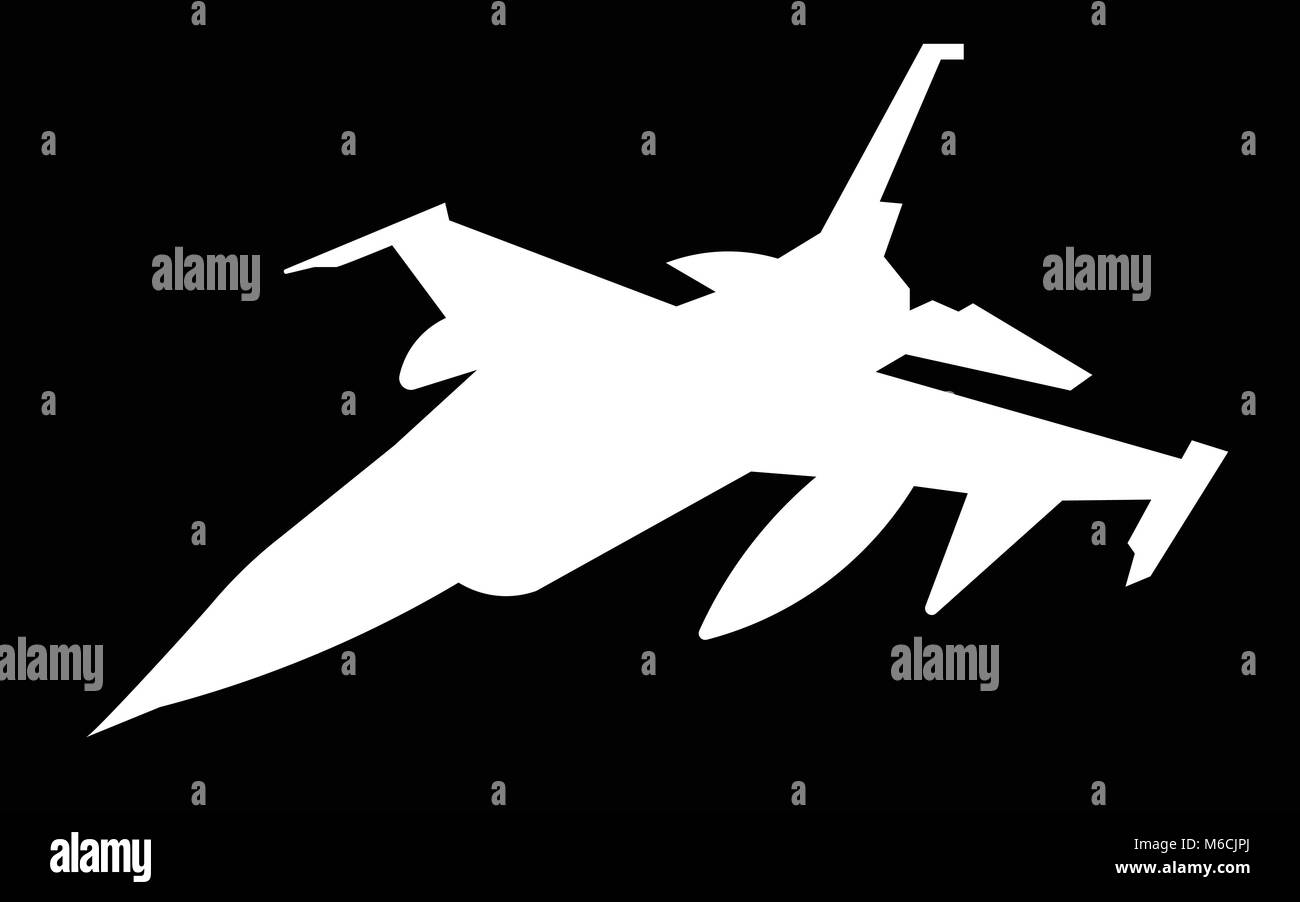white f16 silhouette on black background Stock Vector