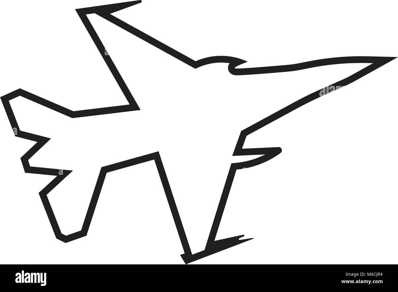 f16 silhouette outline on white background Stock Vector