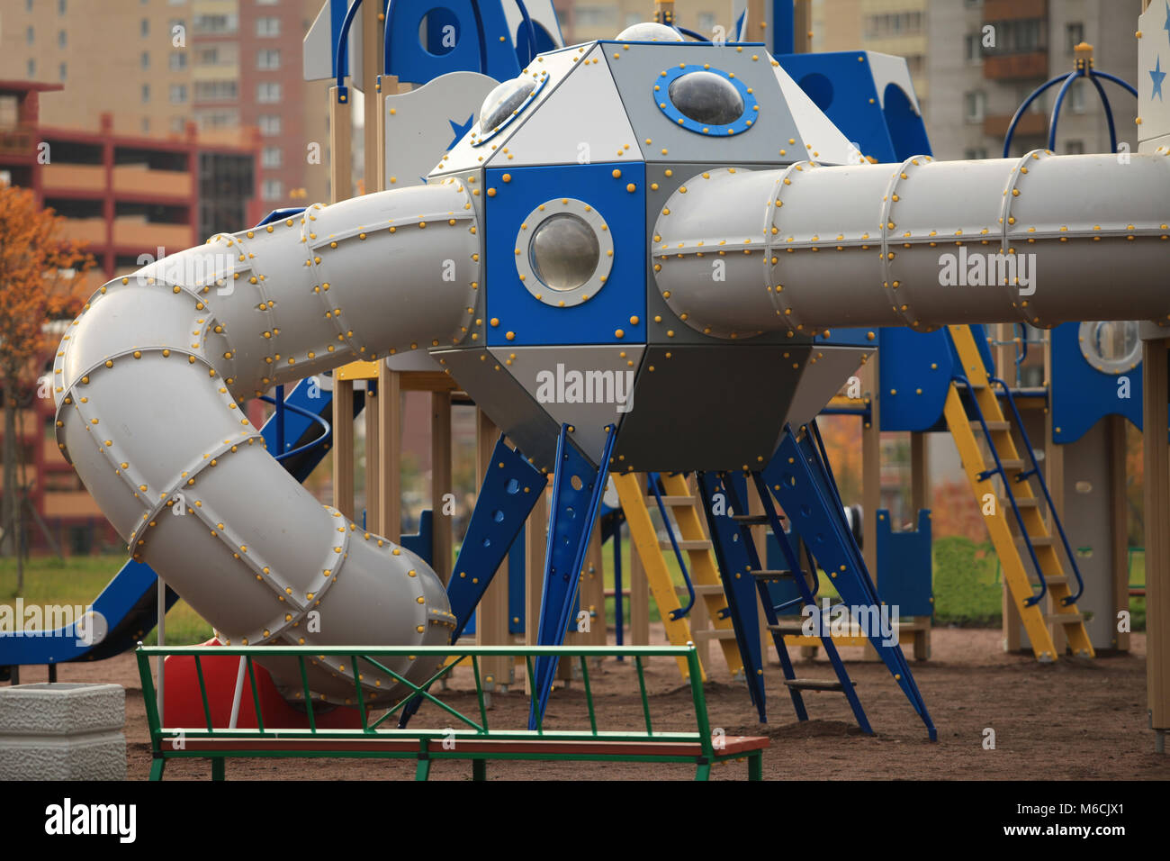 The gaming spaceship   in the playground - Stock Image