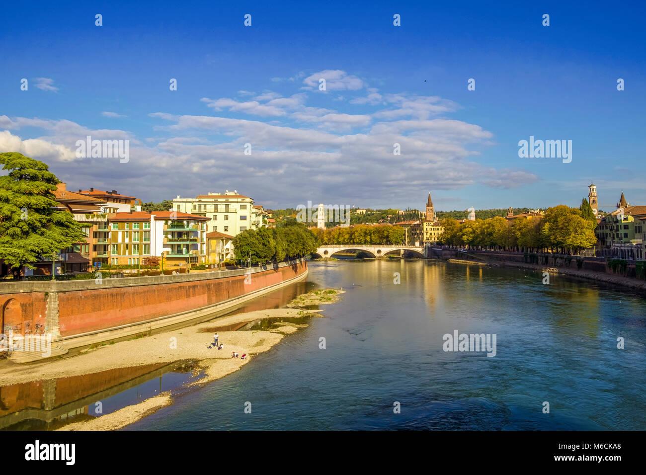 Adige River in Verona, Italy - Stock Image