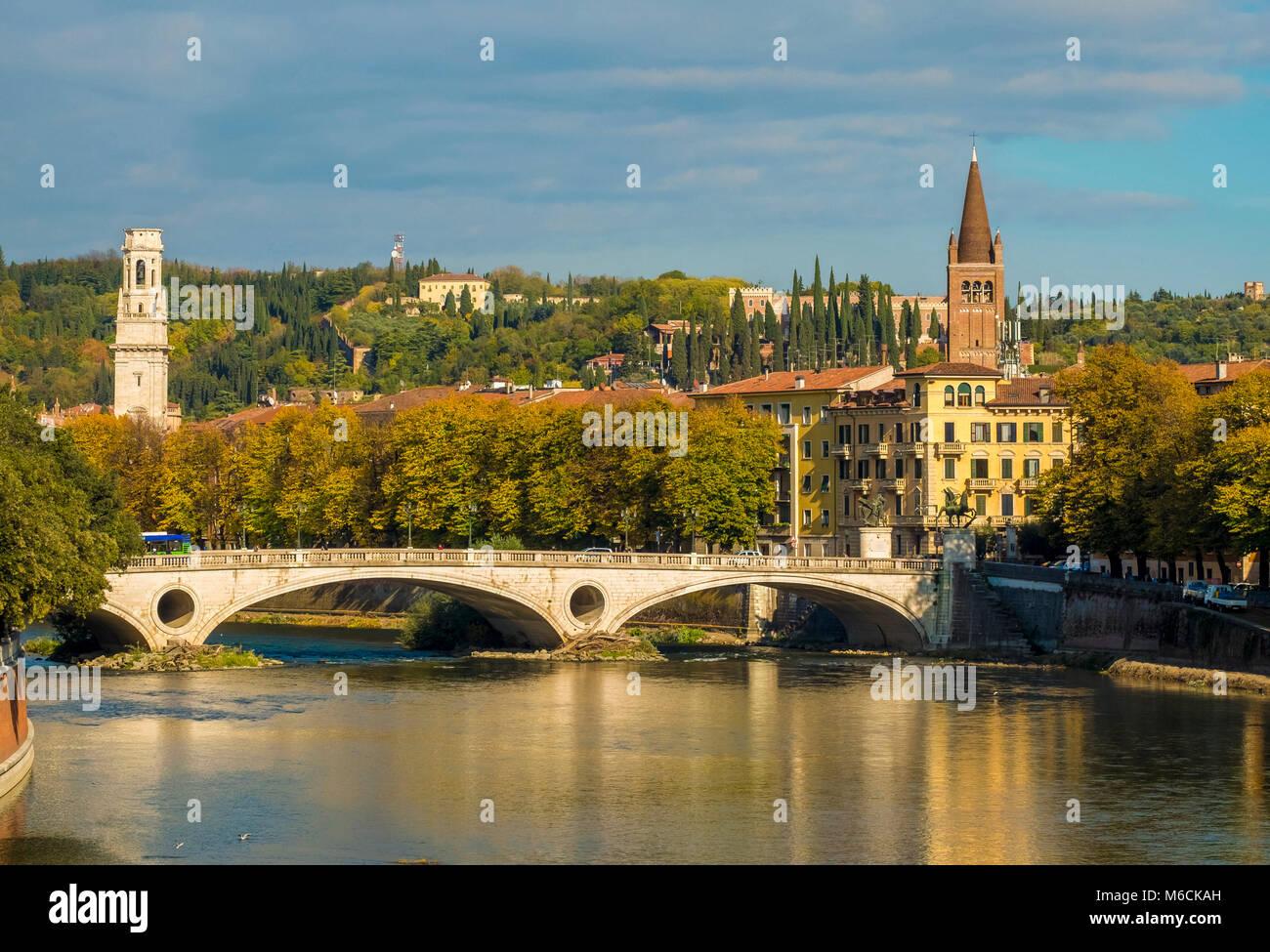 Adige River and Ponte della Vittoria bridge in Verona, Italy - Stock Image