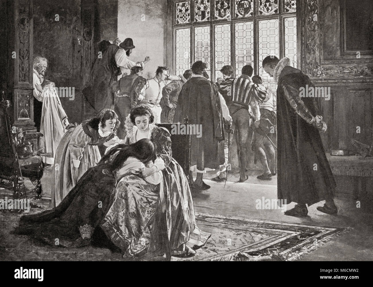 Huguenots taking refuge in the English embassy during The St. Bartholomew's Day Massacre, Paris, France, 1572.  A targeted group of assassinations and a wave of Catholic mob violence directed against the Huguenots during the French Wars of Religion, believed to have been instigated by Catherine de' Medici.   From Hutchinson's History of the Nations, published 1915. Stock Photo