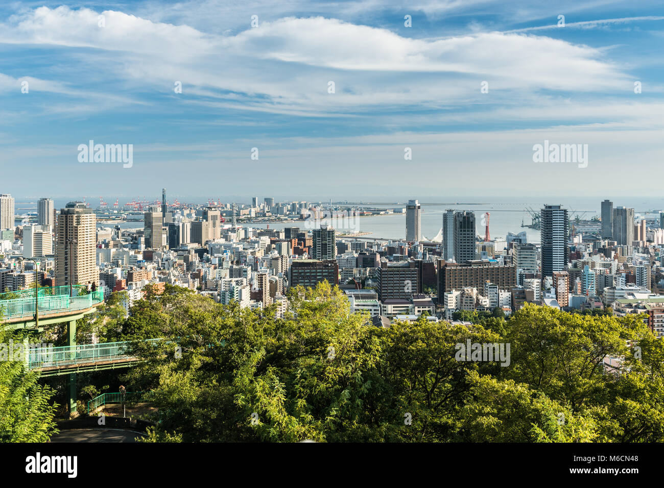 View from Venus Bridge, Kobe  overlooking Kobe City and the Port Island - Stock Image