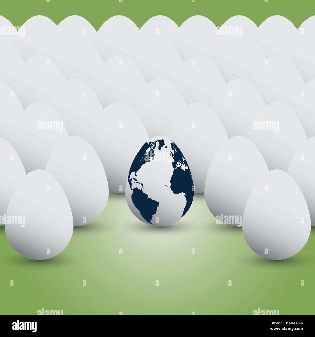 Earth Concept - Our Planet Like a Fragile Egg - Freely Scalable and Editable Vector Format Included - Stock Vector