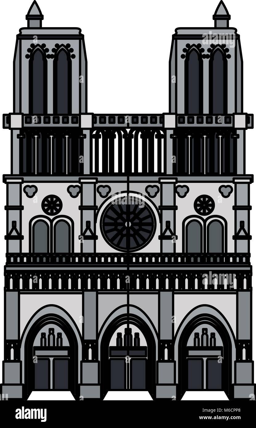 Gothic church building - Stock Vector