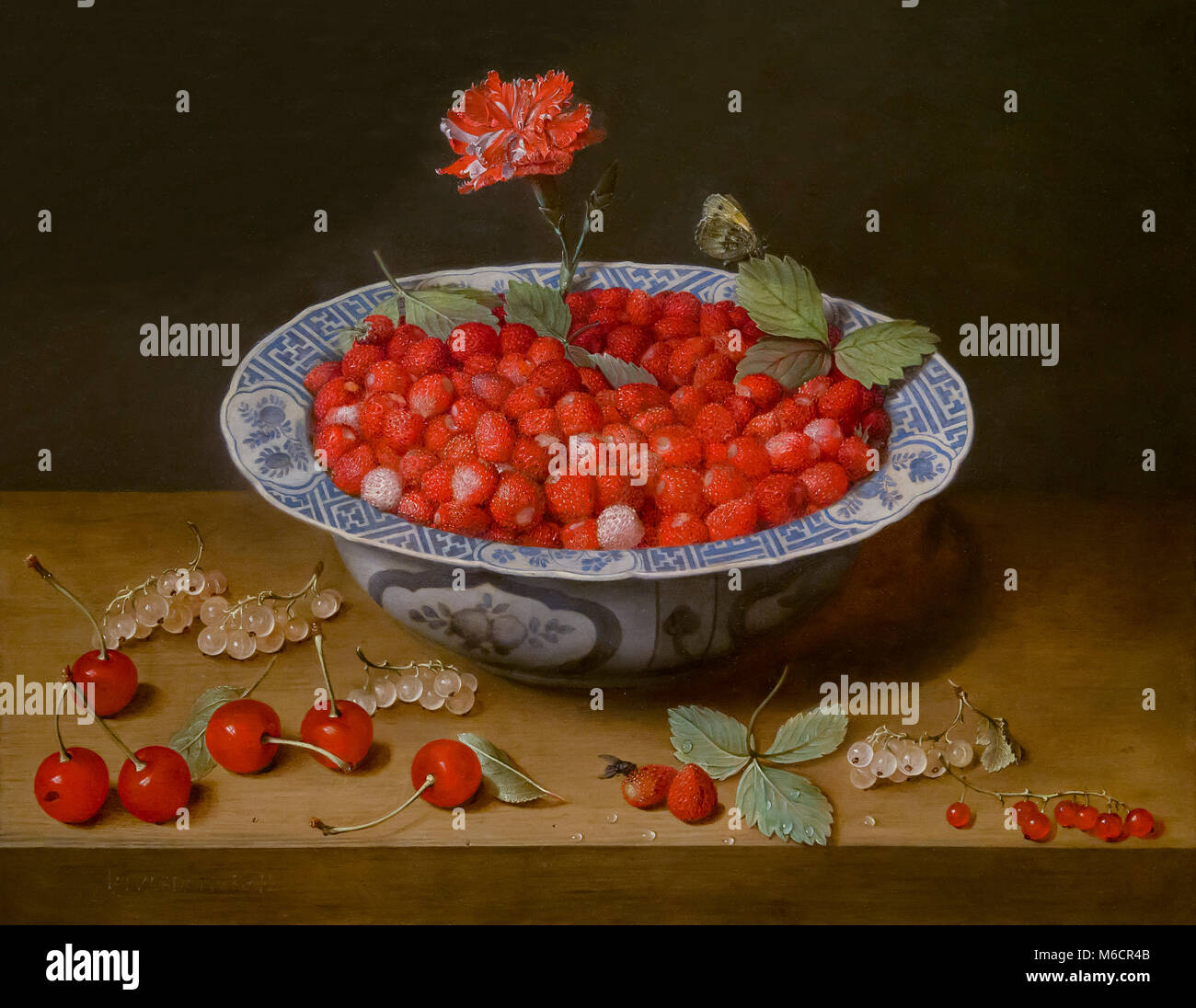 Wild Strawberries and a Carnation in a Wan-Li Bowl, Jacob van Hulsdonck, circa 1620, National Gallery of Art, Washington - Stock Image