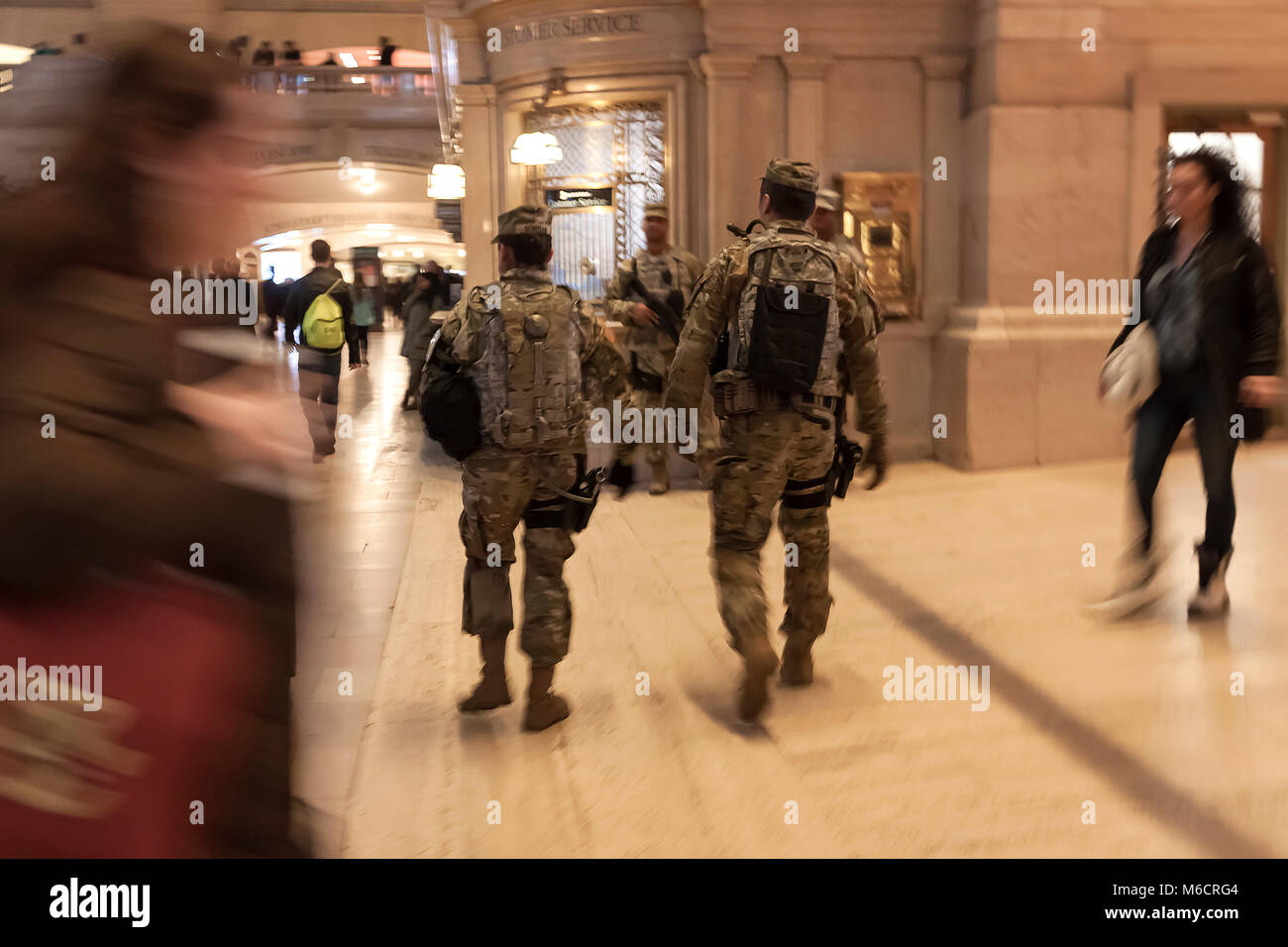Army National Guard officers patrolling Grand Central Station, New York, NY,  USA. - Stock Image