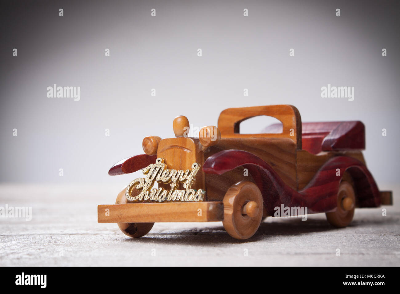 Retro Wooden Car With Merry Christmas SignChristmas Card Custom Lettering