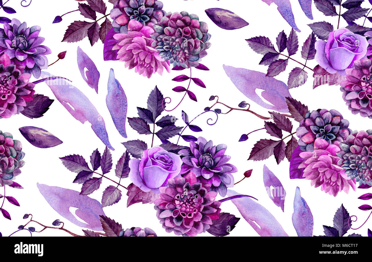 Watercolor floral pattern. Purple flowers background - Stock Image