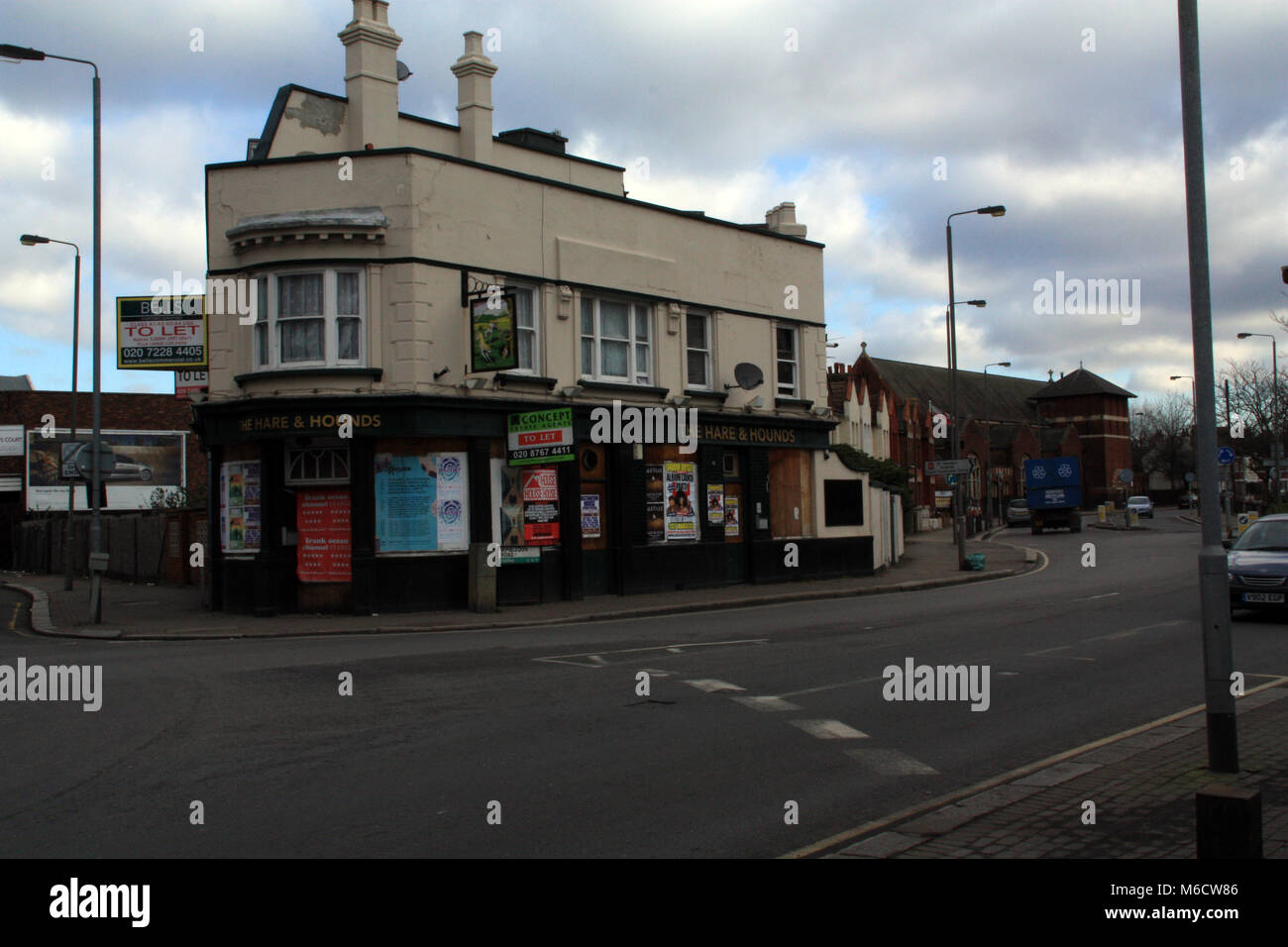 The Hare & Hounds Public House, Summerstown, Tooting. Now a wood flooring warehouse. London, England, UK; - Stock Image
