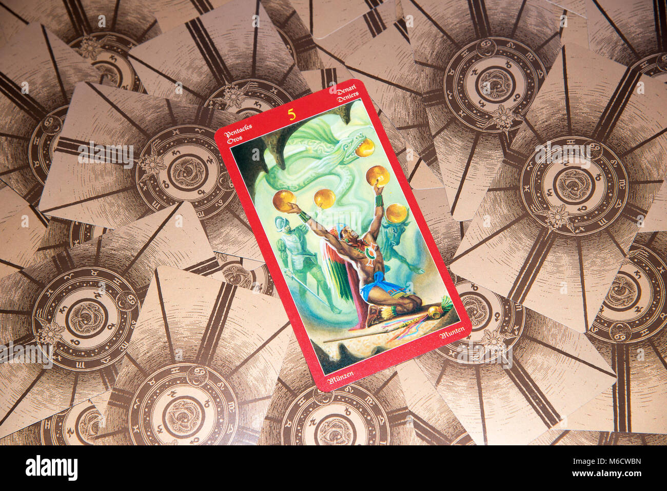 Tarot Cards Five Pentacles Stock Photos Tarot Cards Five Pentacles