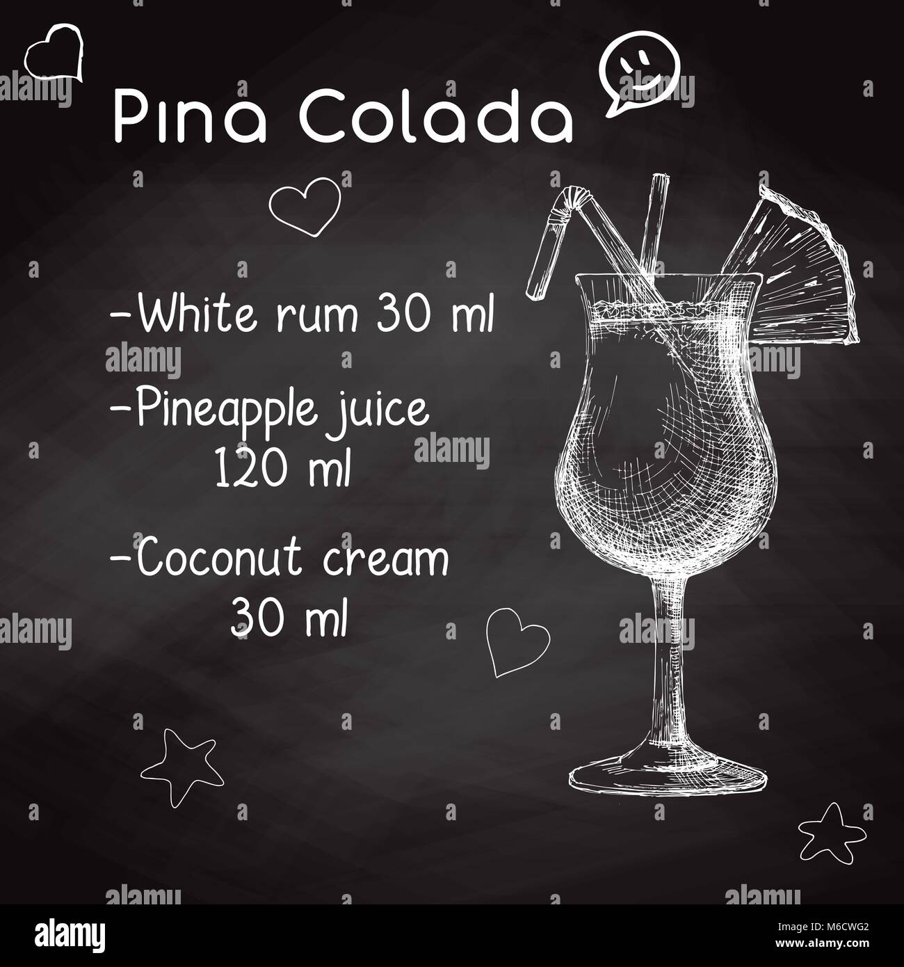 Simple Recipe For An Alcoholic Cocktail Pina Colada Drawing