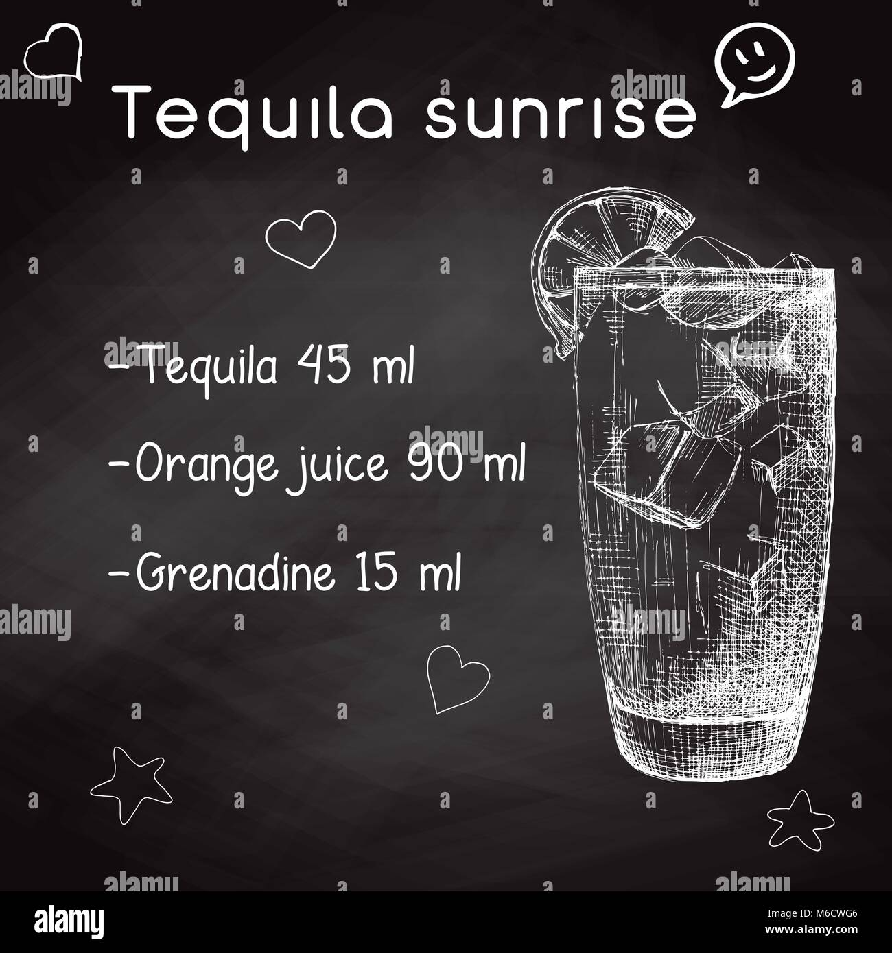 Simple recipe for an alcoholic cocktail Tequila Sunrise. Drawing chalk on a blackboard. Vector illustration of a Stock Vector
