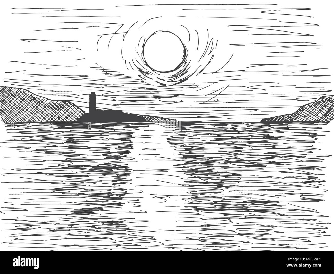 Hand drawn sunset sun over the sea. On the horizon is a mountain and a lighthouse. Vector illustration of a sketch - Stock Vector