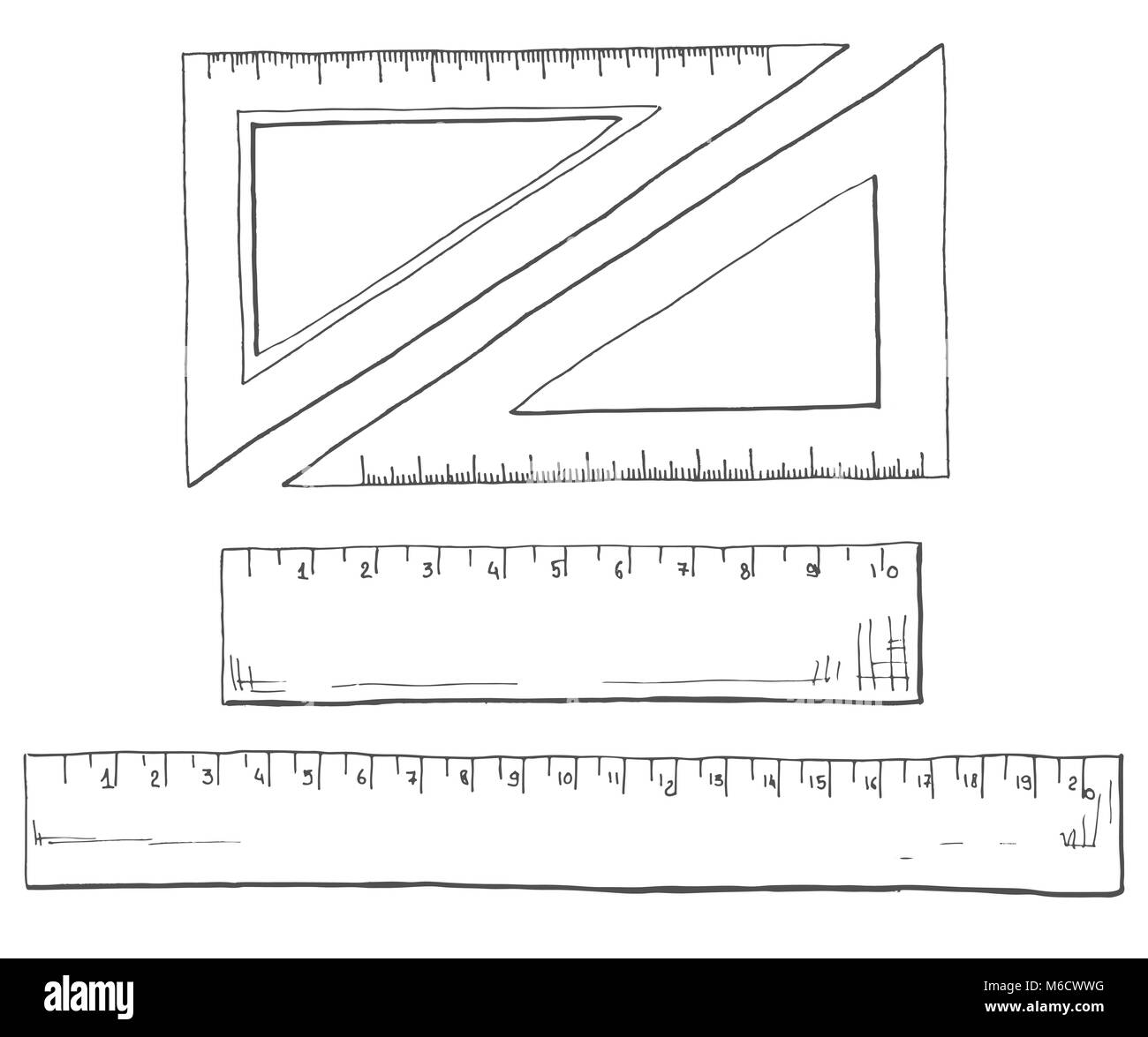 Hand drawn a set of rulers and triangles. Vector illustration of a sketch style. - Stock Vector