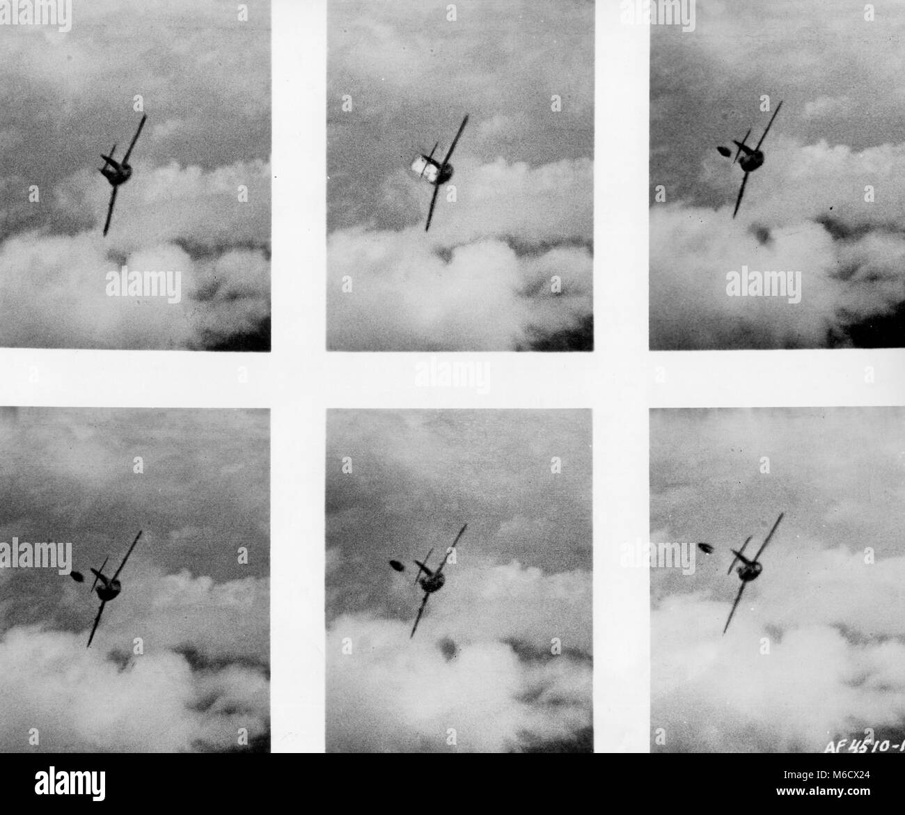 Photos, taken by the gun camera of a U.S. Air Force F-86 flown by 2nd Lt. Edwin E. 'Buzz' Aldrin, show a - Stock Image