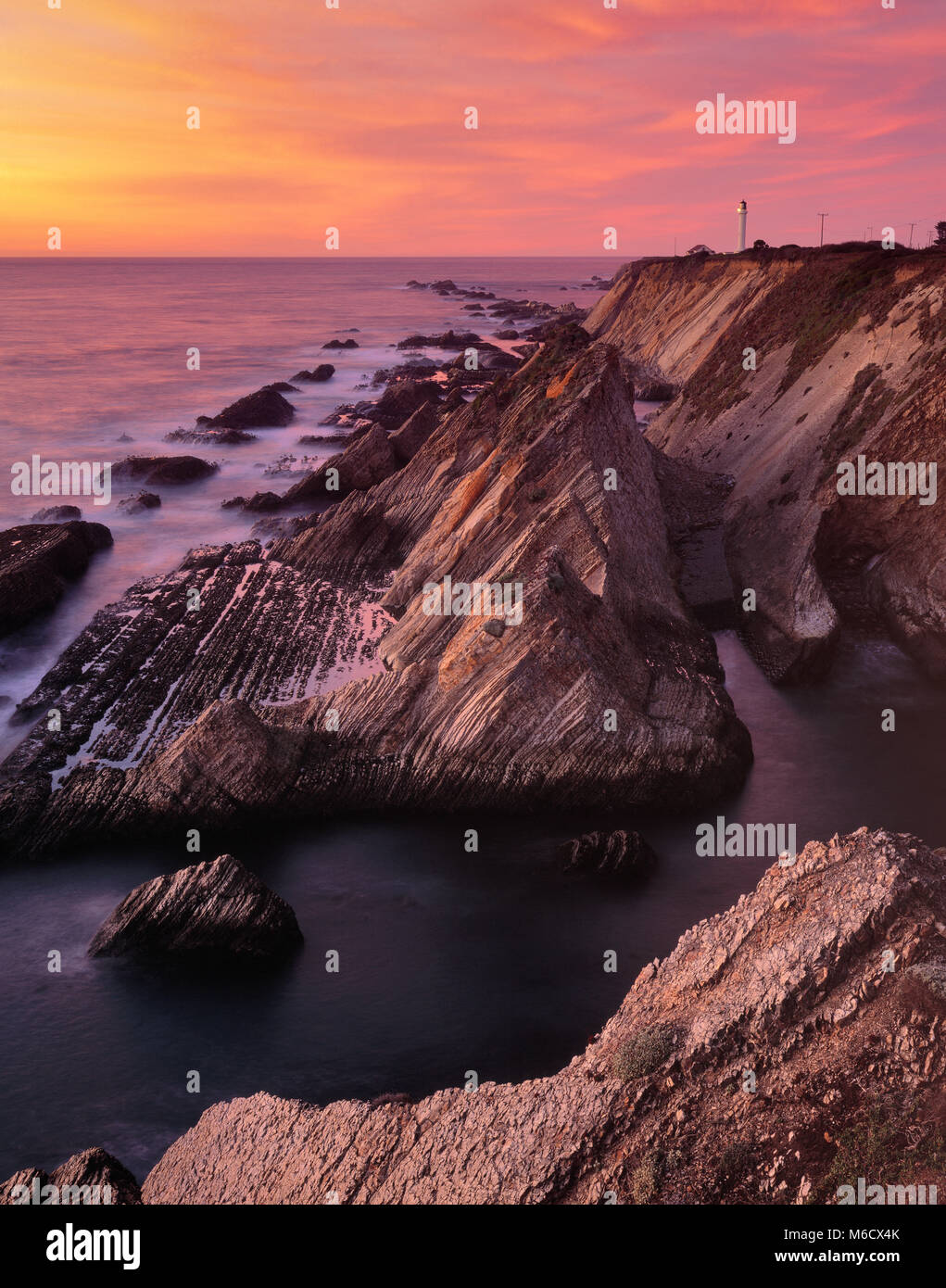 Sunset, Point Arena Lighthouse, Mendocino County, California - Stock Image