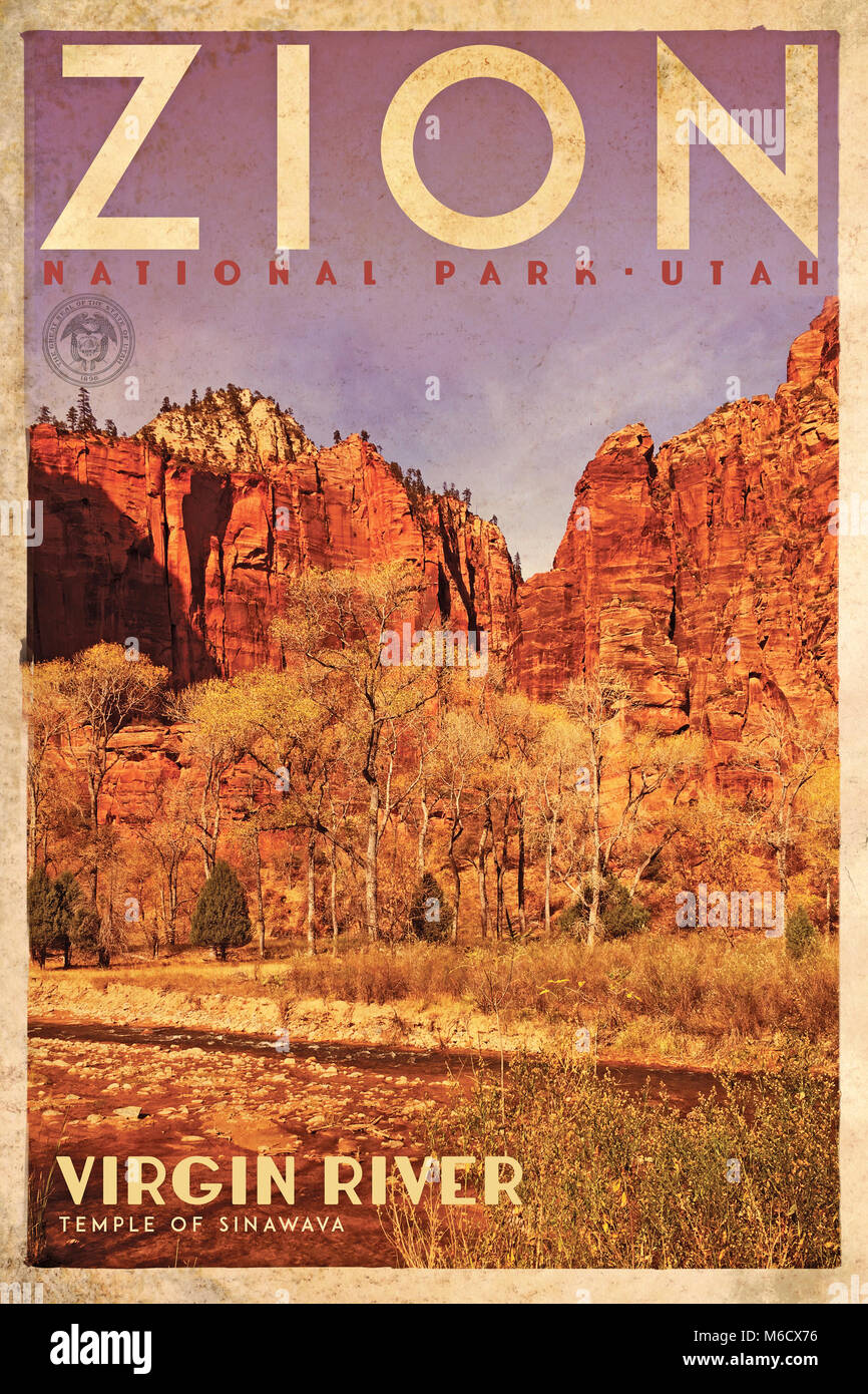 Vintage Travel Poster Or Advertisement Of Zion National Park Utah Stock Photo Alamy