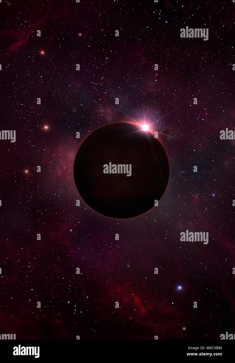 Illustration of a black dwarf.A black dwarf is the fate that awaits all white dwarfs.The latter are the remains Stock Photo