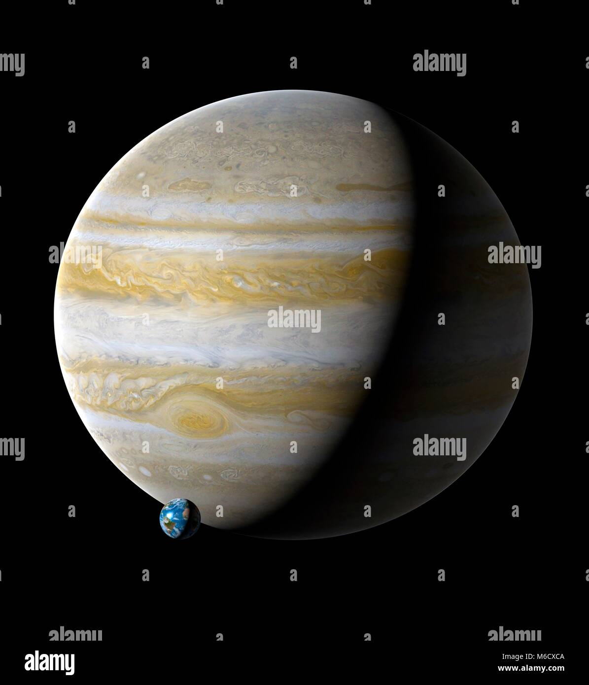 Image comparing the size of Earth (left) with the planet Jupiter. Jupiter is the fifth planet from the Sun, with - Stock Image