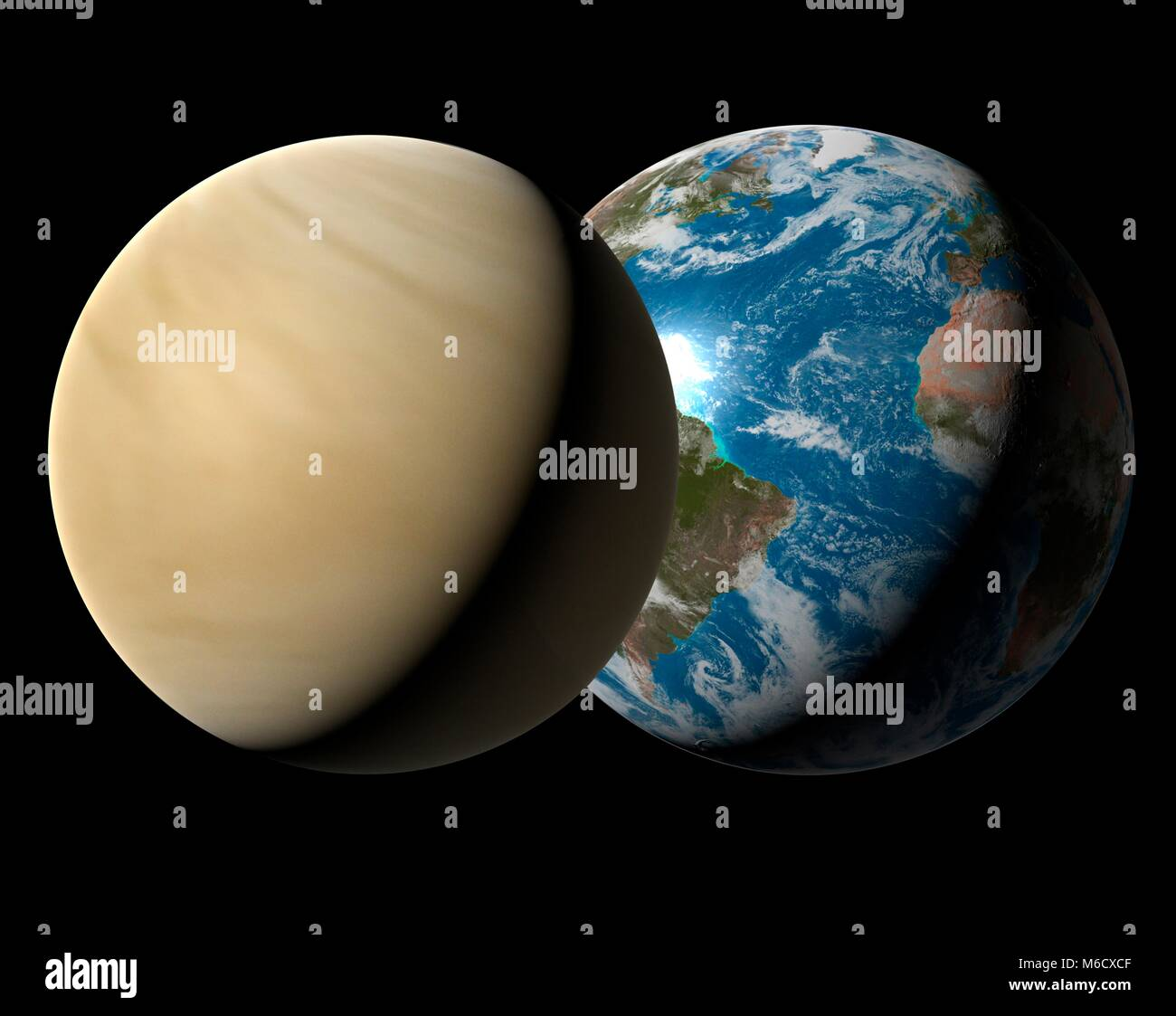 Image comparing the size of Earth (right) with the planet Venus. Venus is the second planet from the Sun, with an - Stock Image