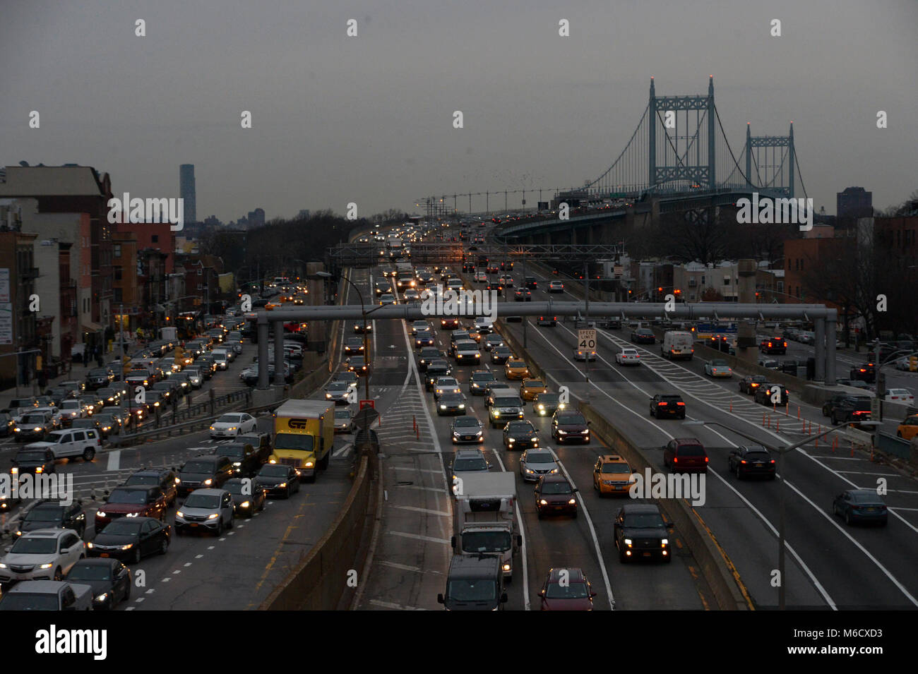 New York City, USA - March 1, 2018: Evening rush hour traffic at Queens-bound lanes of the Grand Central Parkway - Stock Image