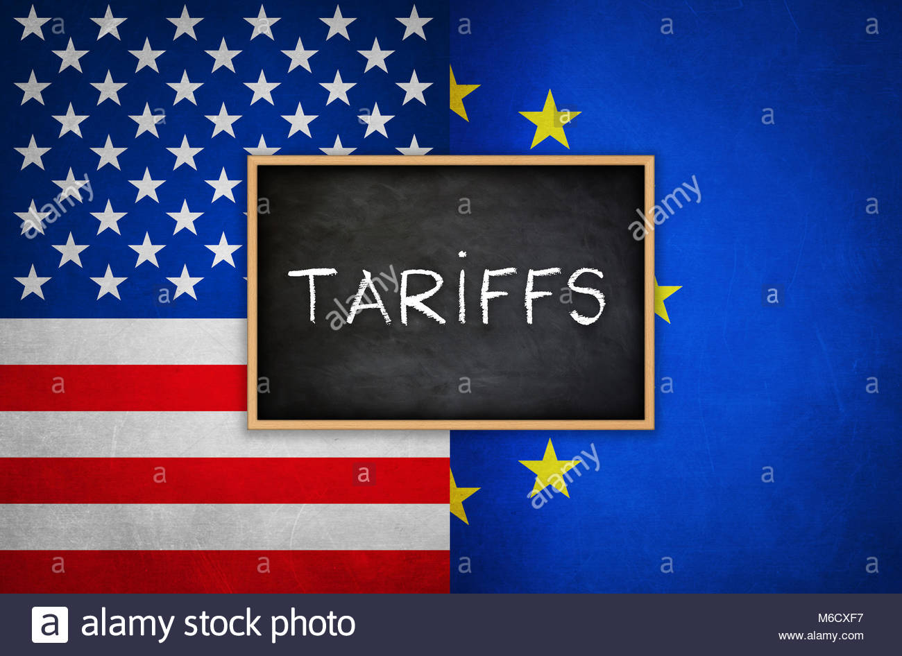 Tariffs between America and the European Union - Stock Image