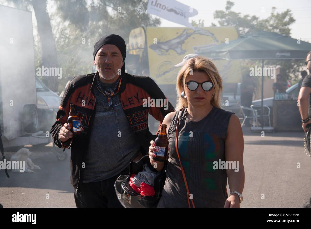 Antalya, Turkey - May 21, 2017: Antalya, Harley Davidson motor convoys on the road. Festival name is Antalya Rally, - Stock Image