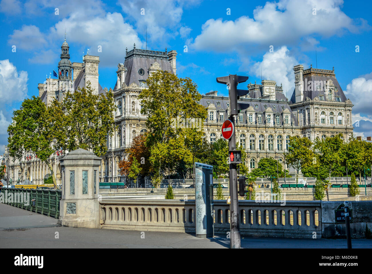 The Hôtel de Ville in Paris, France housing the city's local administration in the 4th arrondissement - Stock Image