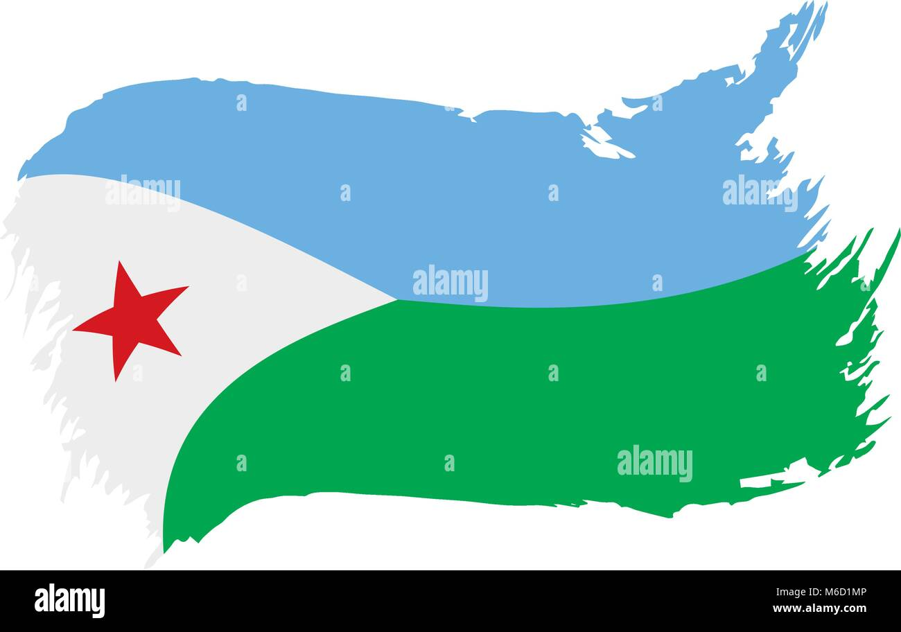 Djibouti flag, vector illustration Stock Vector