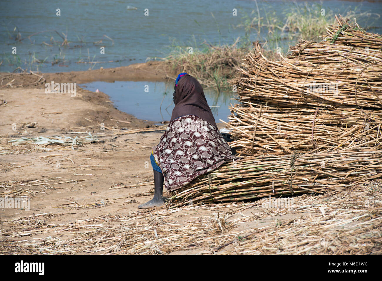 An ethnic, indigenous Bozo tribe woman waiting for a boat to take her across the river to her village. Mali, West - Stock Image