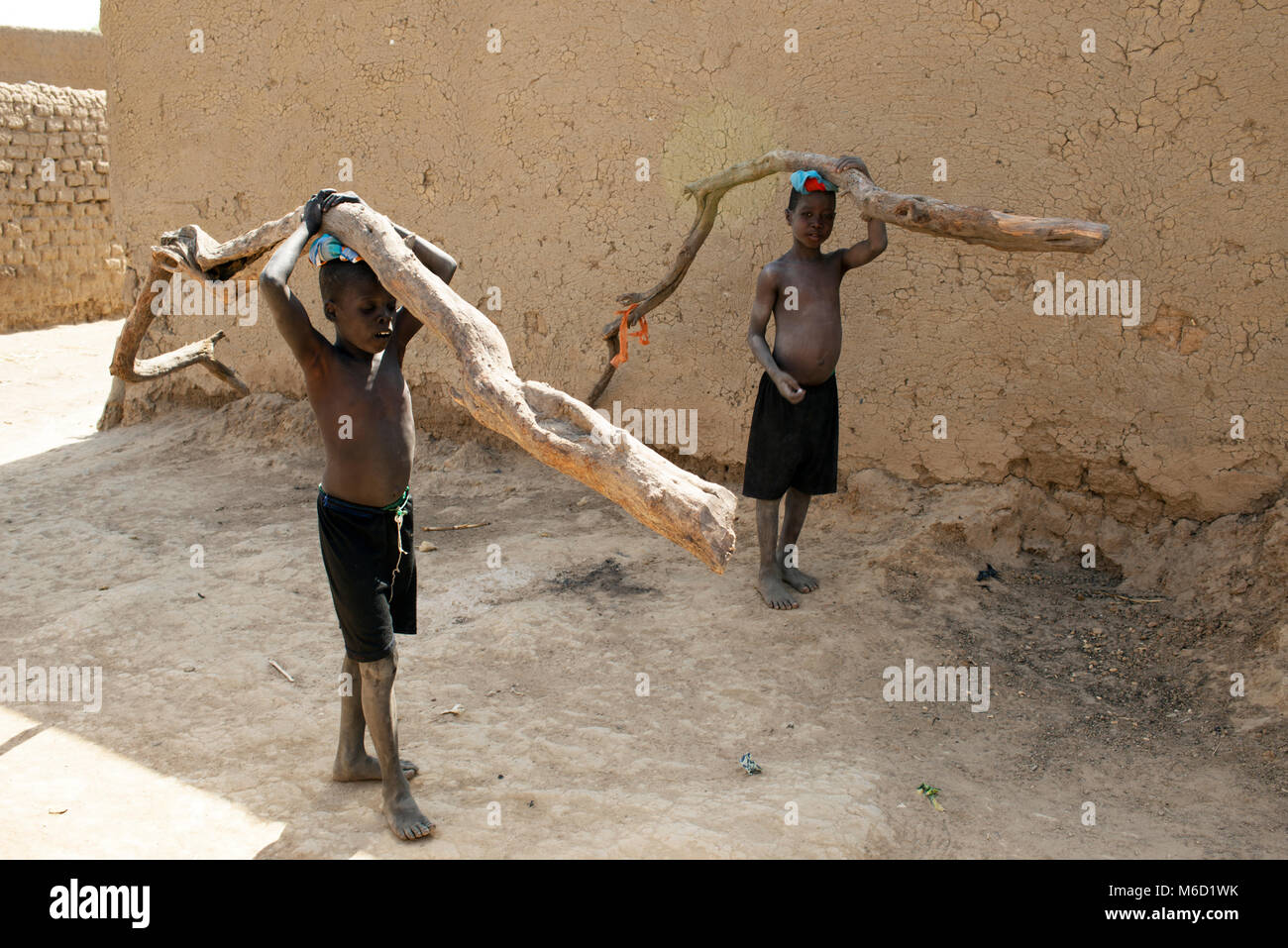 Two young, indigenous, ethnic Bozo tribe boys each carrying a branch of a tree in their village. Mali, West Africa. - Stock Image