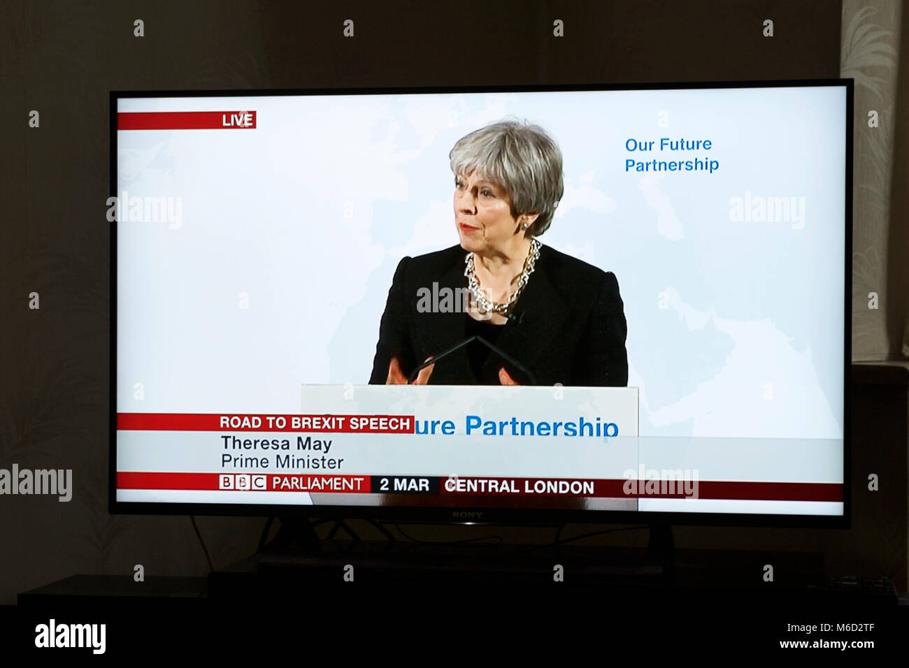 London, UK. 2nd March, 2018. The UK Prime Minister Theresa May giving her Road to Brexit Speech on BBC Parliament. - Stock Image