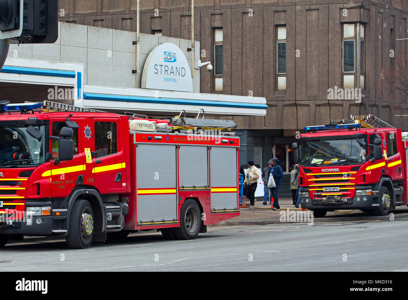Bootle, Liverpool, UK. 2nd March 2018. Fire breaks out at the New Strand Shopping Centre in Bootle, Liverpool. The Stock Photo